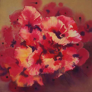 Poppy Mania 5, acrylic on canvas