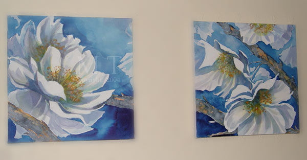 moodsb6 -  Acrylic painted Waterflower Collection - Pair on Canvas