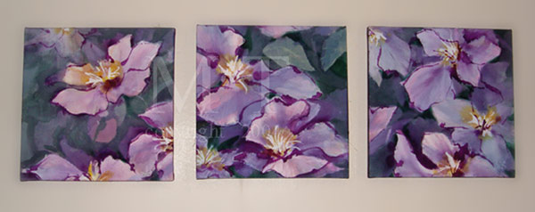 moodsa11 - Acrylic painted flowers trio on Canvas