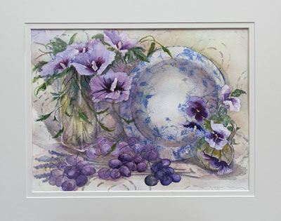 Mallows and Pansies Original Watercolour